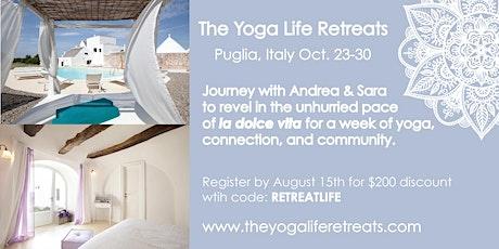 Yoga Retreat to Puglia, Italy Oct. 23-30 biglietti