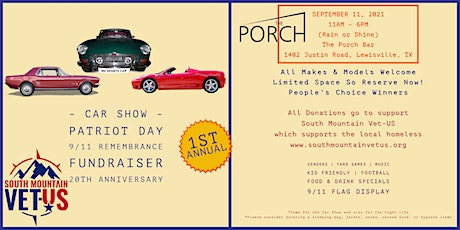 Patriot Day car show at The Porch Bar supporting South Mountain Vet-US tickets