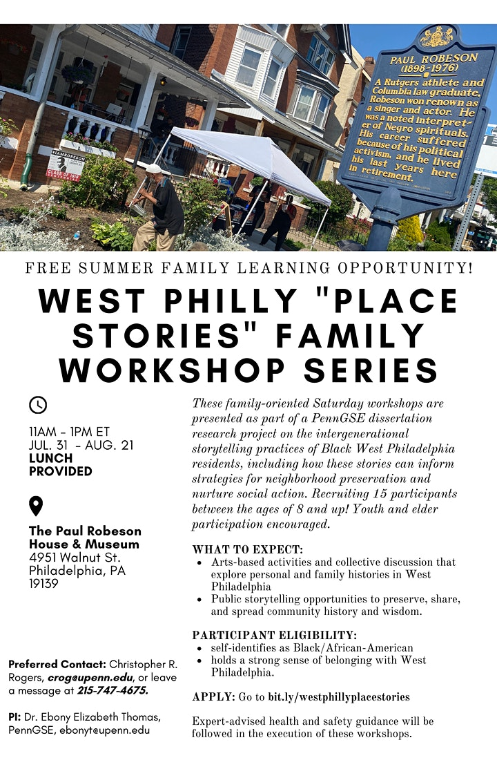 APPLY NOW! Special Series: WEST PHILLY PLACE STORIES Family Workshop image