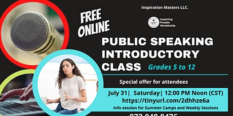 Public Speaking Introductory Class - FREE Online - Grades 5 to 12 tickets