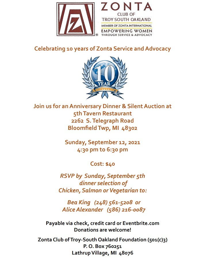 Zonta Troy-South Oakland Dinner Anniversary image