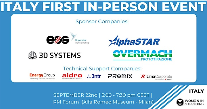 Immagine First in-person Wi3DP ITALY:  Sept. 22nd  RM Forum Conference & Networking
