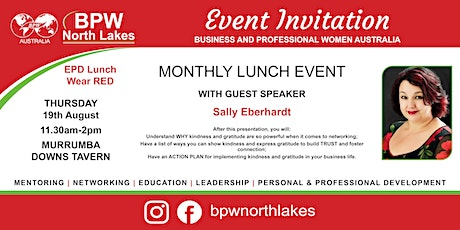BPW North Lakes August AGM Lunch with Guests Speaker Sally Eberhardt tickets