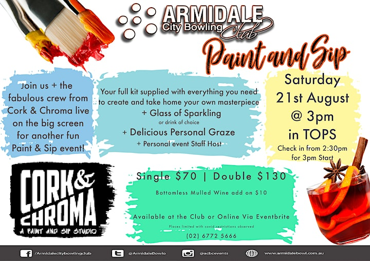 Paint and Sip  Event by Cork and Chroma @ Armidale City Bowling Club image