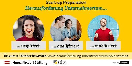 Online-Infotermine: Start-up Preparation mit Herausforderung Unternehmertum Tickets