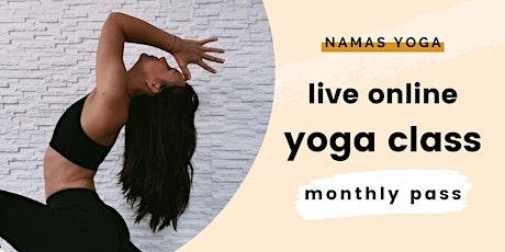 Live Online Yoga class with Namas Yoga | AUGUST CLASS PASS boletos