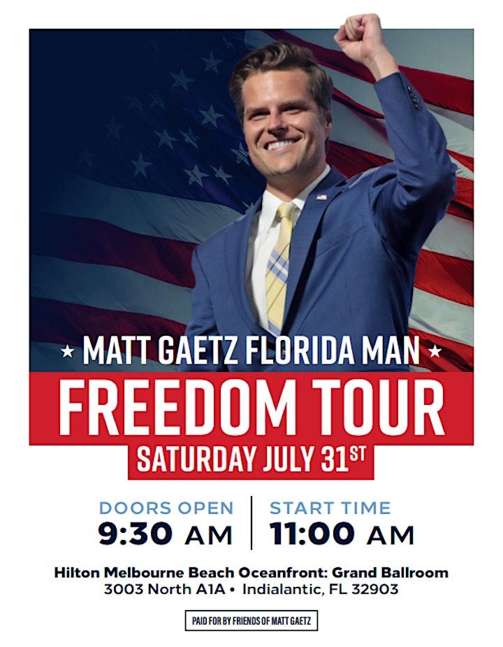Congressman Matt Gaetz Florida Man Freedom Tour in Indialantic, FL image