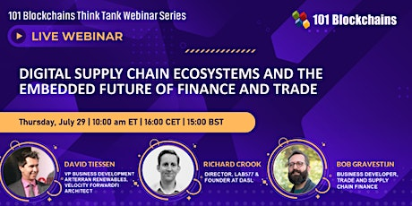 Digital Supply Chain Ecosystems and the Embedded Future of Finance & Trade tickets