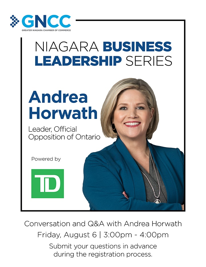 Niagara Business Leadership Series with Andrea Horwath image