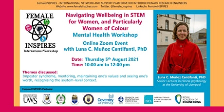 Navigating Wellbeing in STEM for Women & particularly Women of Colour tickets