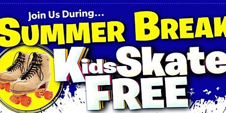 Kids Skate FREE  in August on Sundays  - Sunday, August 1st 1:00-3:00pm tickets