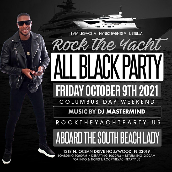 ROCK THE YACHT 2021 ALL BLACK YACHT PARTY MIAMI CARNIVAL  COLUMBUS DAY WKD image