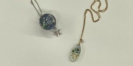 UV Resin Earth Charm and Floral Necklace- Hilo tickets