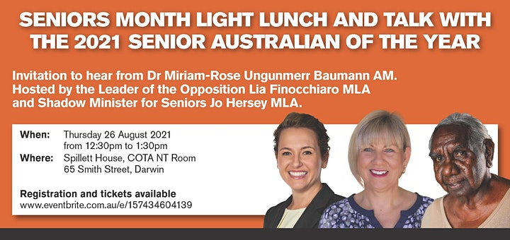 Seniors Month Light Lunch and Talk with  2021 Senior Australian of the Year image
