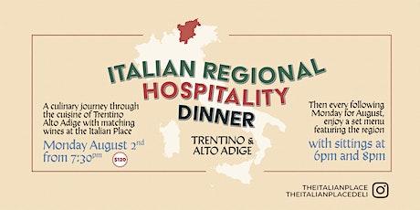 Italian Regional Hospitality Dinner: Trentino & Alto Adige tickets