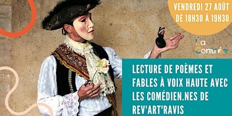 Lecture de poèmes et de fables à voix haute avec des comédien.nes billets