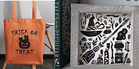 Creative Class - Lino Block Print  HALLOWEEN Tote Bag - Hoylake Wirral £30 tickets