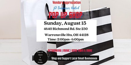 JDBusinesses United POP UP SHOP August 15 Shop with Local Small Businesses tickets