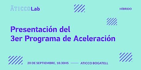 Presentación 3er Programa de aceleración AticcoLab (Barcelona) entradas