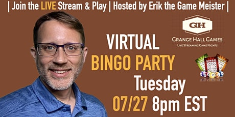 Grange Hall Games - Tuesday BINGO Party Game Night   07/27 at 8pm ET tickets