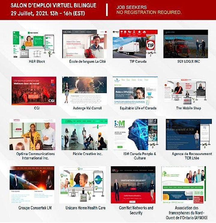 BILINGUAL – FOIRE EMPLOI  Virtual Career Fair - Jeudi 29 juillet 2021 image