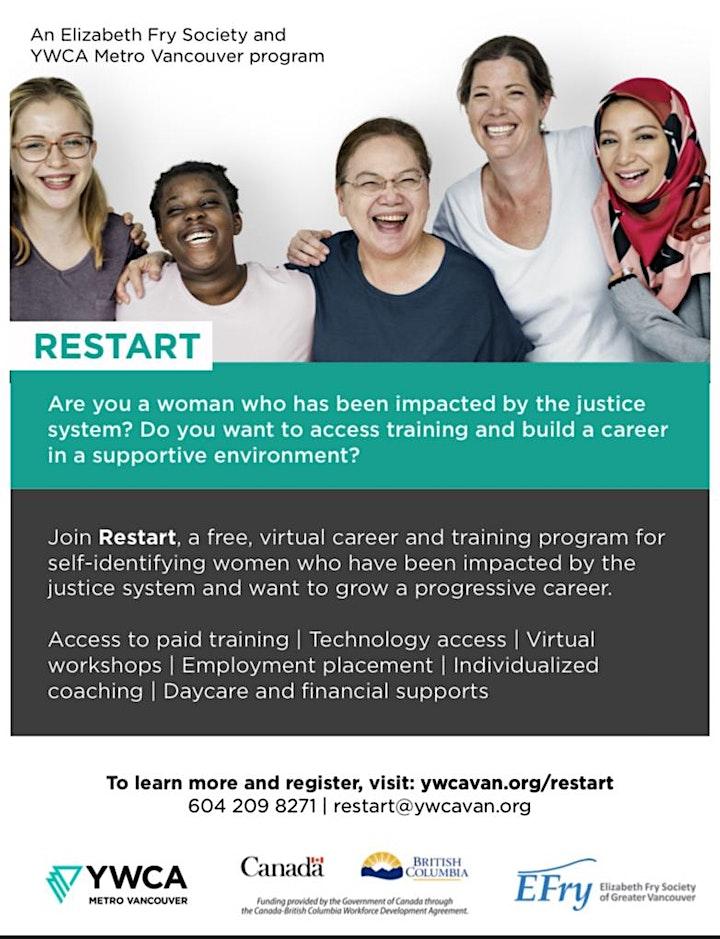 YWCA & EFRY Restart Program Info session| FREE Employment Readiness Program image