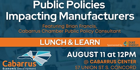 Cabarrus Industrial Lunch & Learn: Public Policy Impacting Manufactures tickets