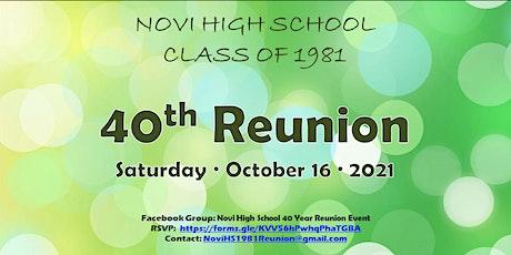 Novi High School Class of 1981 - 40th Reunion tickets