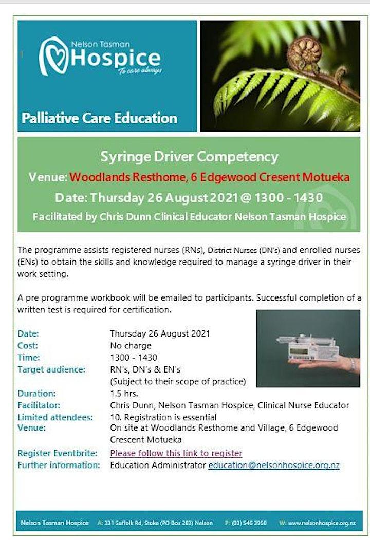 Syringe Driver Competency  - Motueka Venue  (Woodlands Resthome & Village ) image