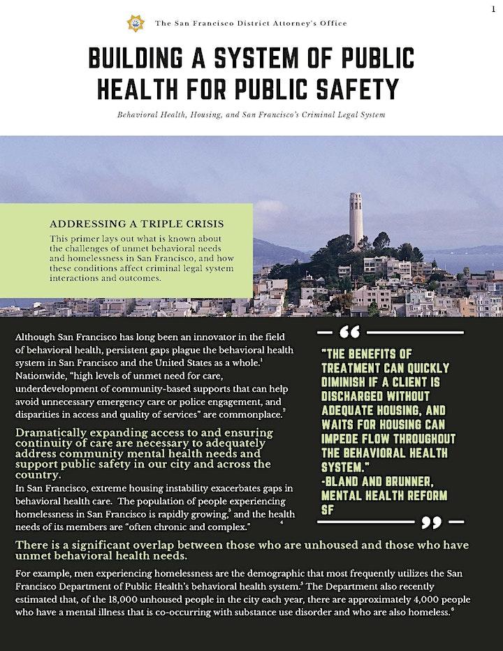 SFDA Convening - Public Health is Public Safety image