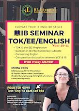 RL IB Seminar TOK/EE/English Y10-11 biglietti