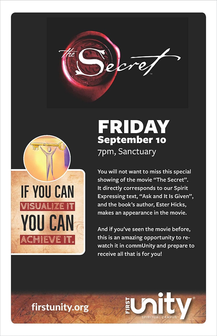 The Secret Movie showing at First Unity Spiritual Campus image