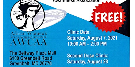 FREE COVID Vaccination Clinic in Greenbelt, Maryland August 7th, 2021 tickets