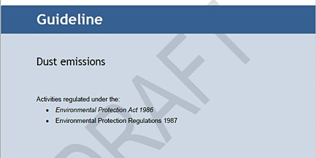 Draft Guideline: Dust emissions  - Public Information Session 1 tickets
