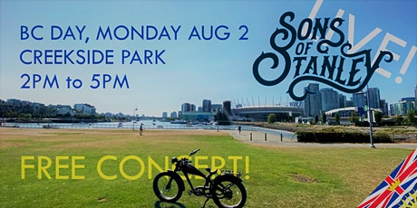Sons of Stanley Free Concert at Creekside Park, BC Day Aug 2, 2PM to 5PM tickets