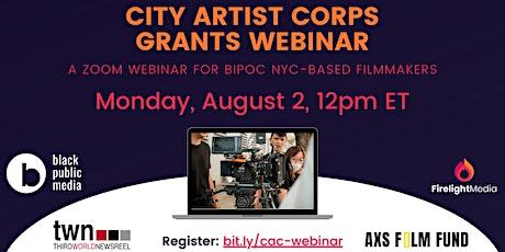 City Artist Corps Grants Webinar tickets