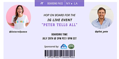 """""""Peter Tells All"""" with Lauren Berger & Peter Weber PRESENTED BY: Albertsons Tickets"""