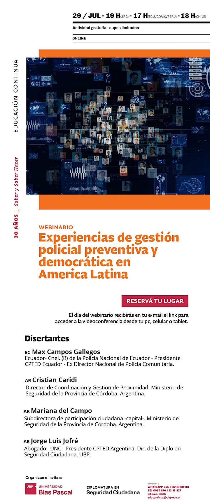 Imagen de Webinar > Experiencias de gestión policial preventiva y democrática