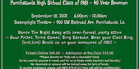 PHS 1981~ 40YEAR CLASS REUNION tickets