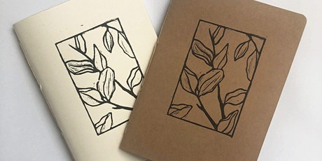 Lino printing notebook covers and cards for over 55s tickets