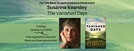 Susanna Kearsley, The Vanished Days, a virtual event tickets