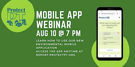 Mobile App Webinar bilhetes