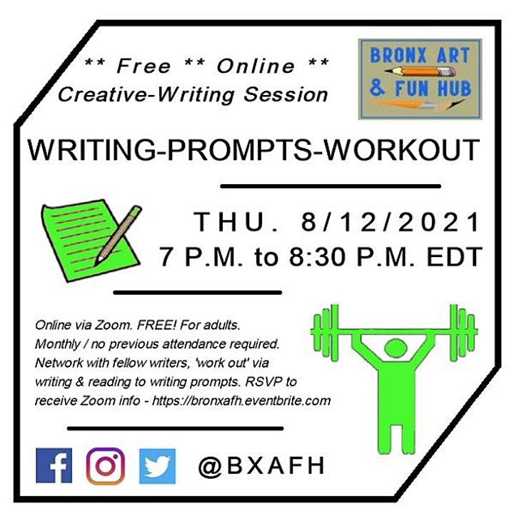 BxAFH Writing-Prompts-Workout Creative-Writing Session August 2021 image