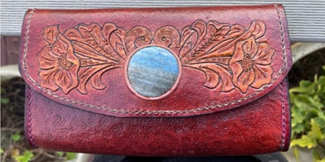 Stone Inlay Leather Purse with Les Williams tickets