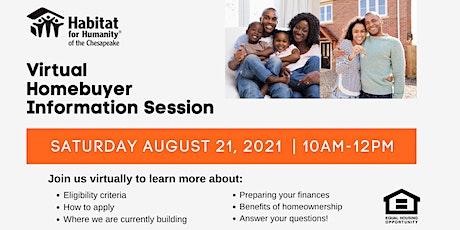 Habitat Chesapeake's Homebuyer Information Session   AUGUST 2021 tickets