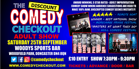 Comedy Night at Woody's Sports Bar Doncaster - Saturday 25th September tickets