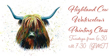 Highland Cow Watercolour Live Class tickets