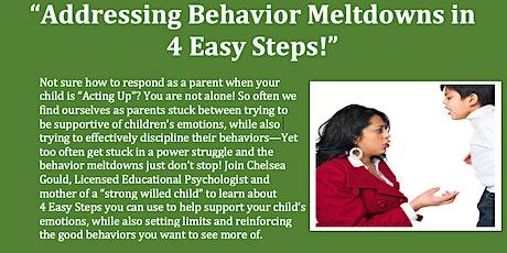 """Addressing Behavior Meltdowns in 4 Easy Steps!"" tickets"
