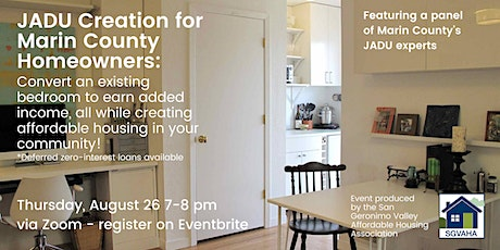 Marin JADU Workshop: earn added income while creating an affordable unit! tickets