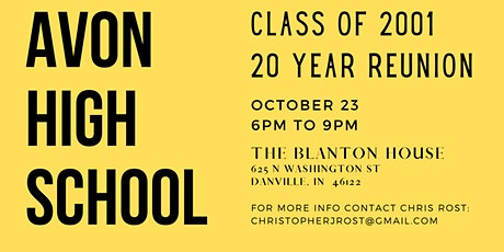 Avon High School Class of 2001 20 Year Reunion tickets